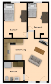 2 Bed / 1 Bath / Deposit: $99 / Rent: $380