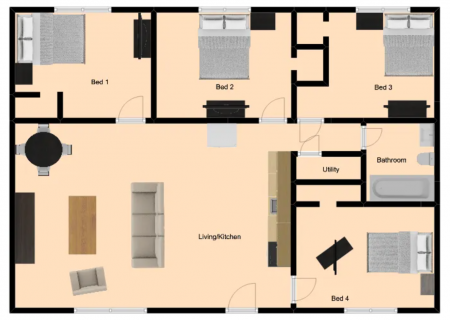4 Bed / 1 Bath / Deposit: $99 / Rent: $315